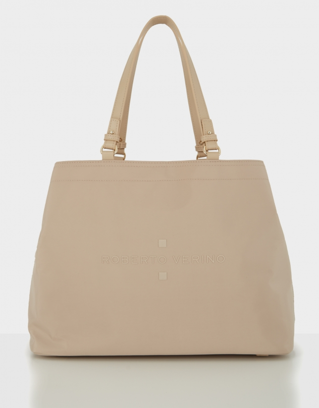 Beige nylon Roxy L hobo bag