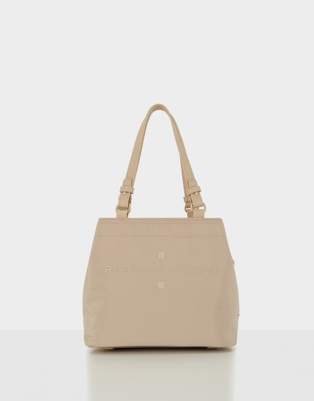 Beige nylon Roxy S hobo bag