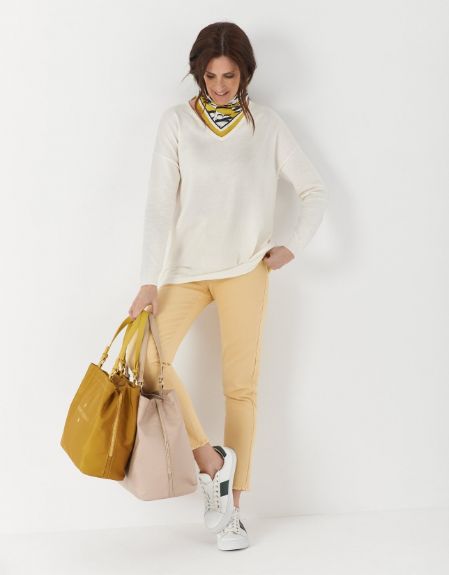 Beige nylon Roxy M hobo bag