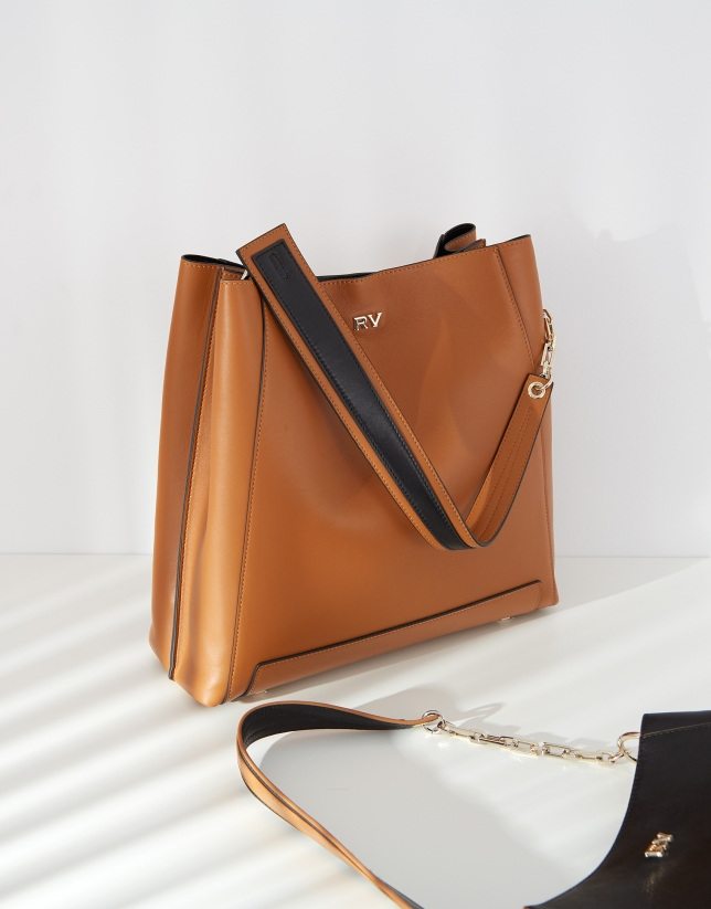 Brown maxi Amber Bouquet leather shoulder bag