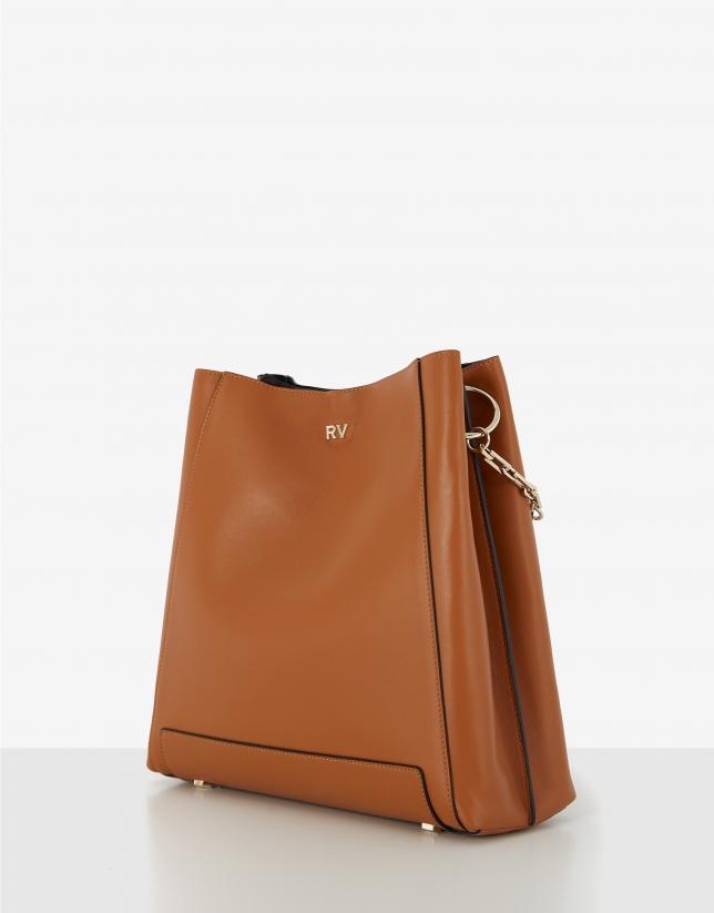 Brown maxi Amber Bouquet leather shoulder bag