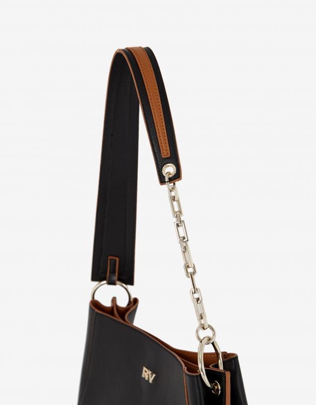 Black midi Amber Bouquet leather shoulder bag