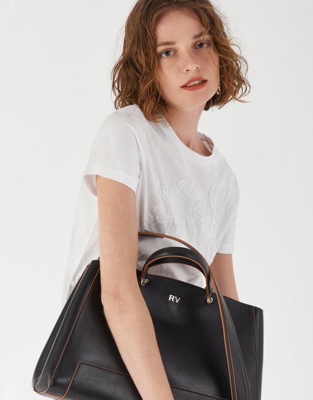 Bolso satchel Maxi Amber piel negra