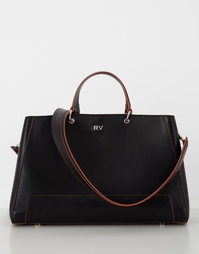 Black mini Amber leather satchel bag