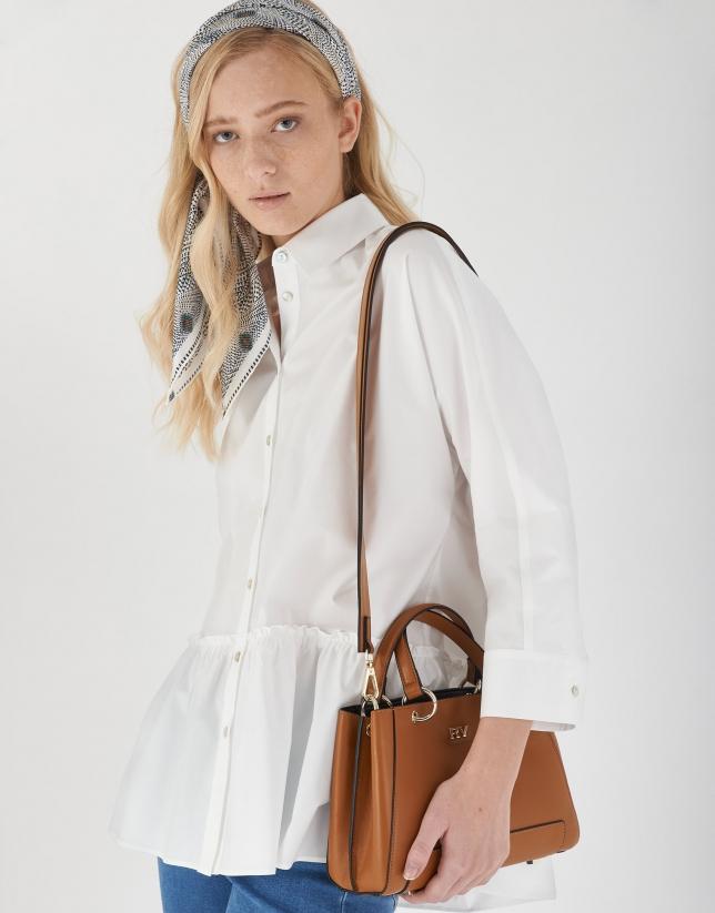 Brown mini Amber leather satchel bag