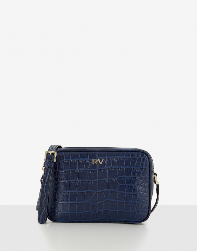 Blue alligator Taylor shoulder bag