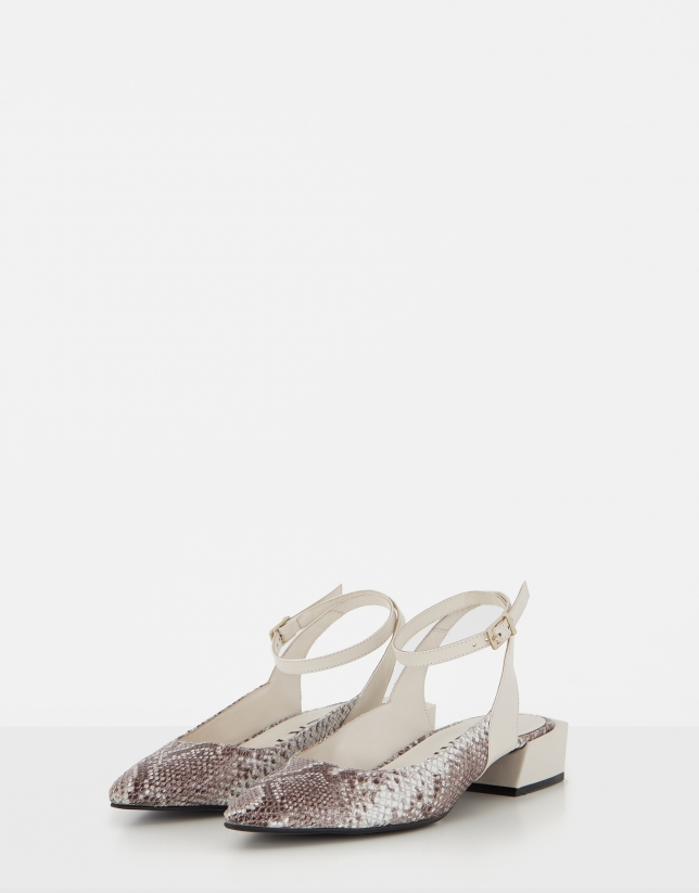 Beige leather and snakeskin sling backs