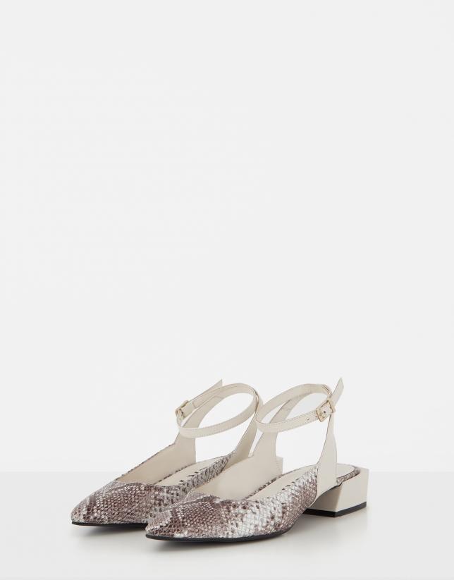 Zapato destalonado piel beige y serpiente