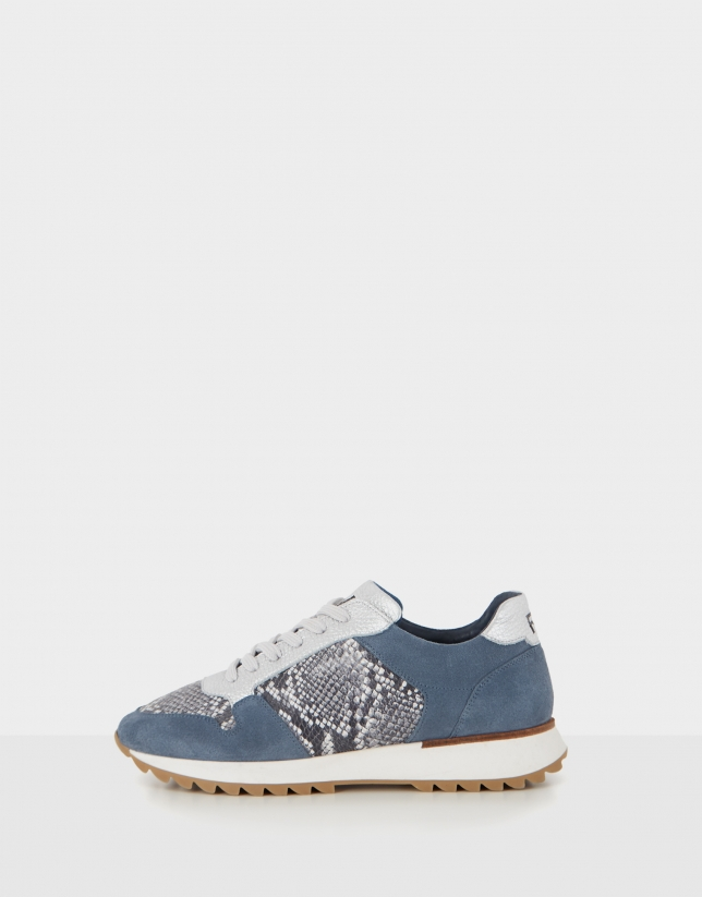Blue suede and grey snakeskin running shoes