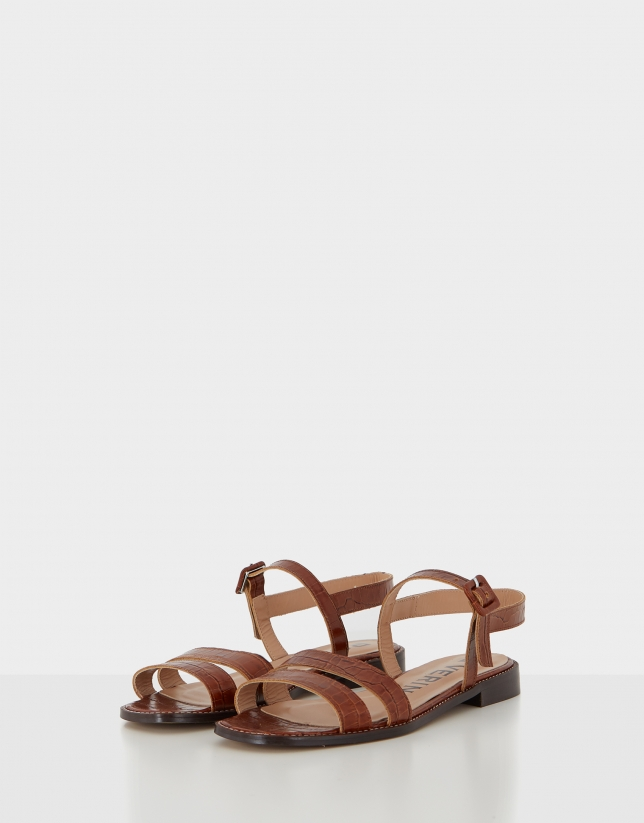 Light brown leather flat sandals
