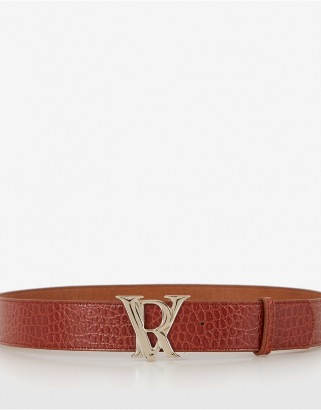 Brown embossed snakeskin leather belt with RV buckle