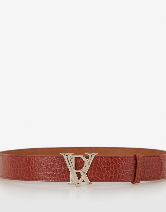 Cinturón piel grabado serpiente marrón hebilla RV