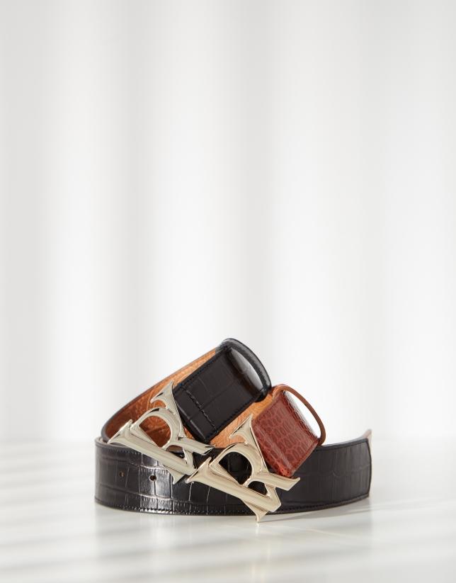 Cinturón piel grabado coco negro marrón hebilla RV