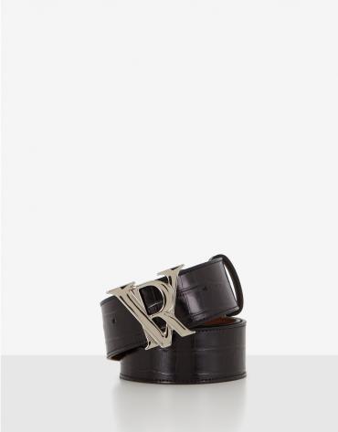 Black embossed alligator leather belt with RV buckle