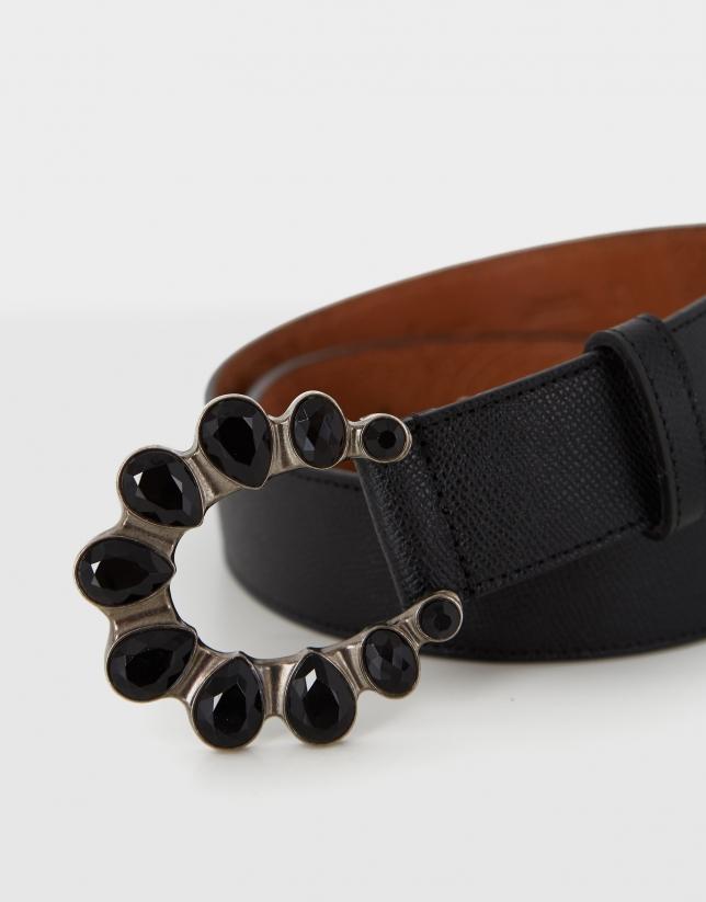 Cinturón piel saffiano negra hebilla piedras
