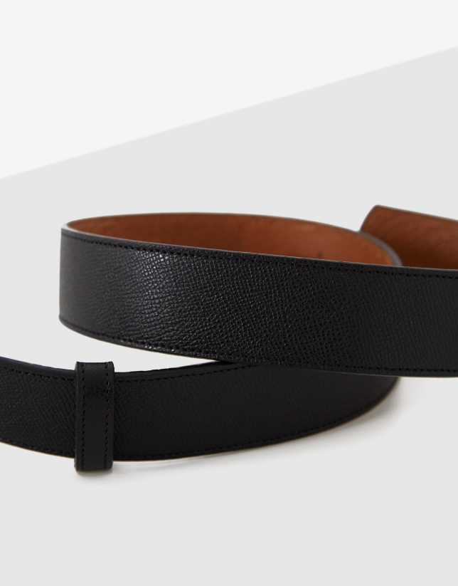 Black Saffiano leather belt with rhinestones