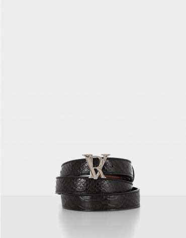 Black reptile embossed leather belt