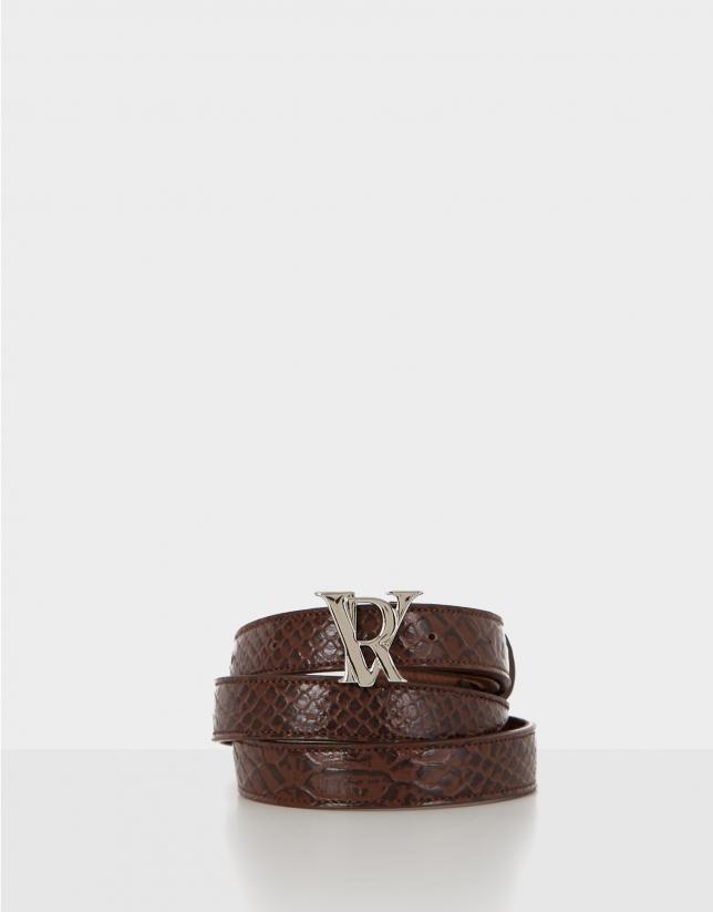 Cinturón piel grabado serpiente marrón