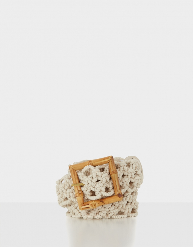 Cream crocheted belt