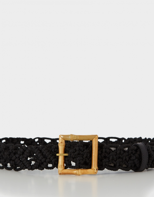 Black crocheted belt