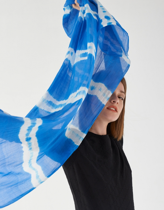 Blue scarf with white stripes