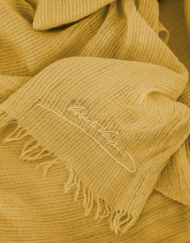 Mustard scarf with embroidered logo