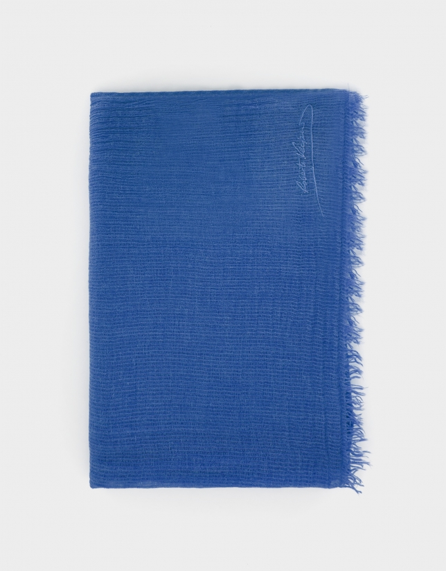Blue scarf with embroidered logo
