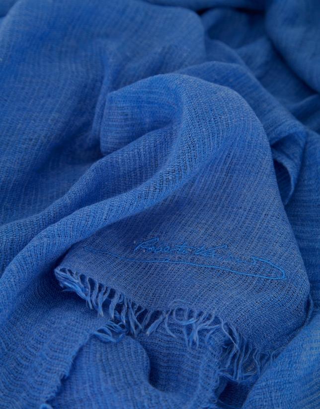Fular logo bordado azul