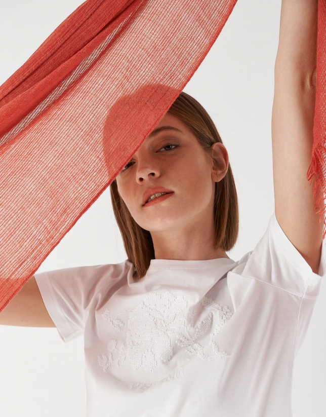 Coral color scarf with embroidered logo