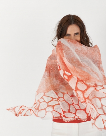 Coral color print linen scarf with rhinestones