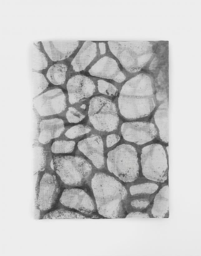 Fular lino estampado piedras gris