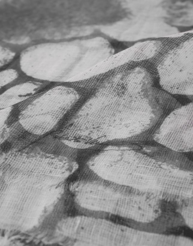 Gray print linen scarf with rhinestones