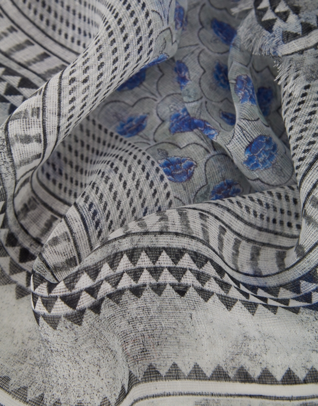 Blue geometric and floral print linen scarf