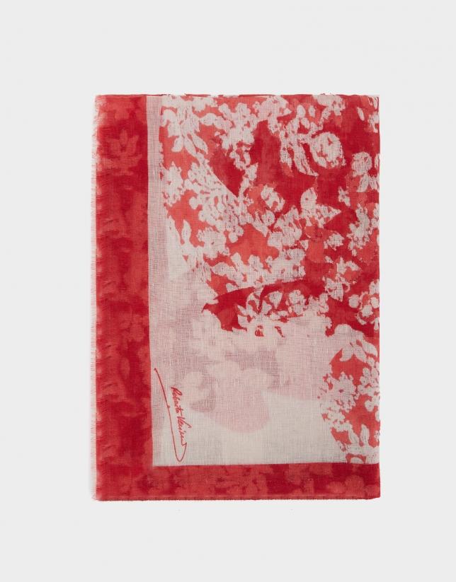Fular lino/algodón estampado flores rojo