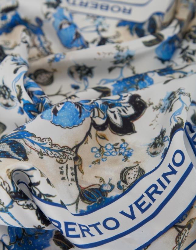 Pañuelo seda flores azules