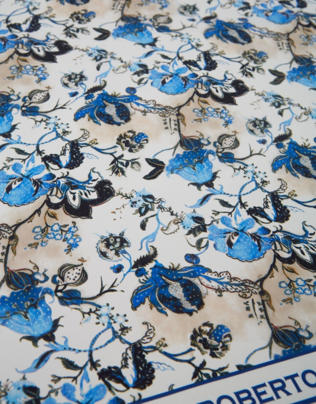 Blue floral silk scarf