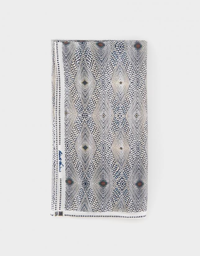 Pañuelo seda geométrico azules