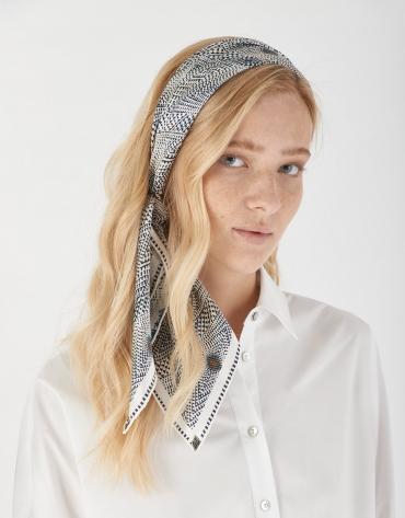 Blue geometric silk scarf