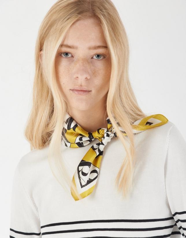 Yellow silk scarf with RV logo