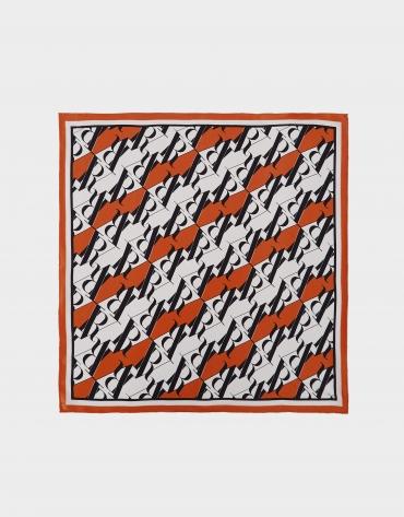 Orange silk scarf with RV logo