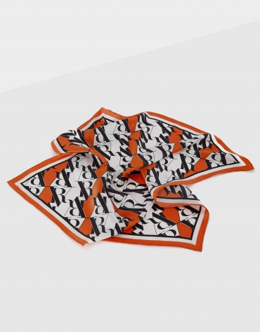 Orange silk scarf with RV logo