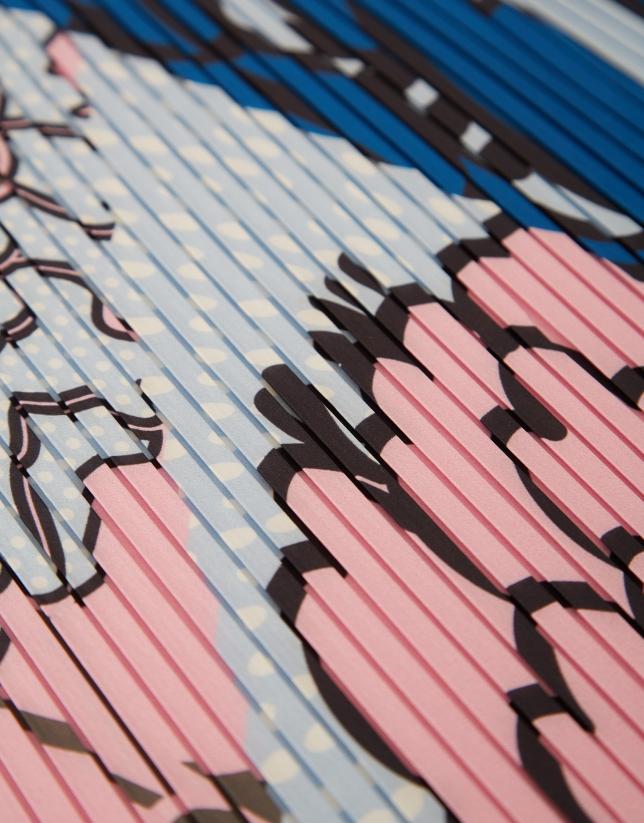 Pañuelo plisado flores rosa/azul