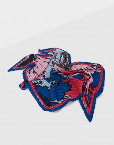 Pañuelo seda plisado flores rosa/azul