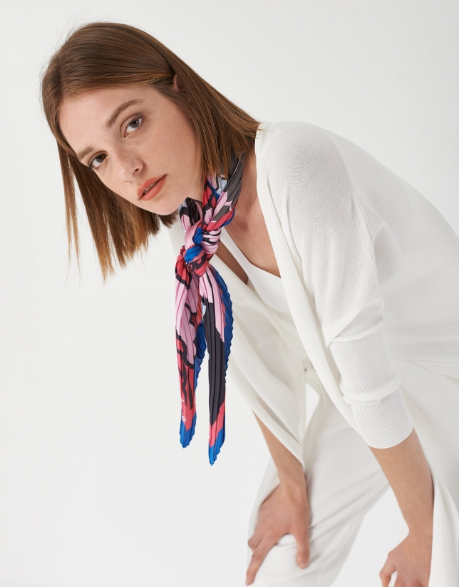 Pink and blue floral print, pleated scarf