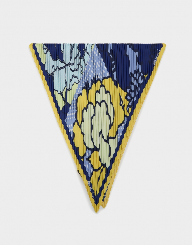 Blue and yellow floral print, pleated scarf