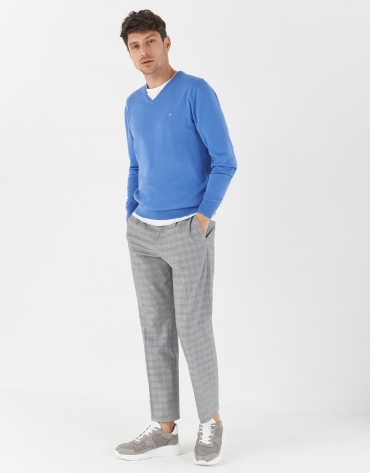 Pantalón pinzas cuadro gales gris perfil azul