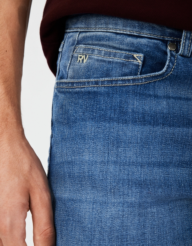 Light blue stone-washed jeans