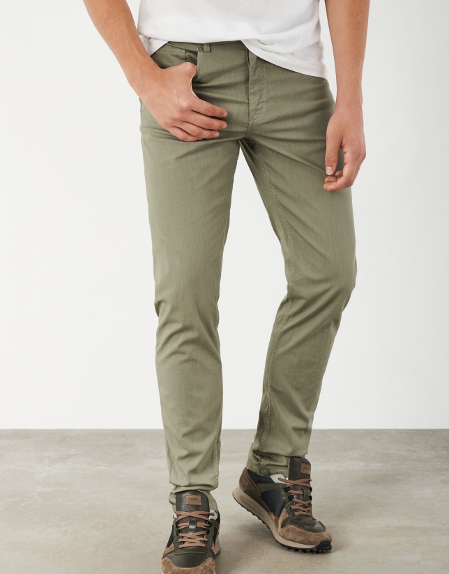 Dyed khaki pants with five pockets