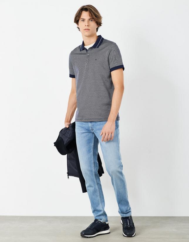 Bleached light blue jeans