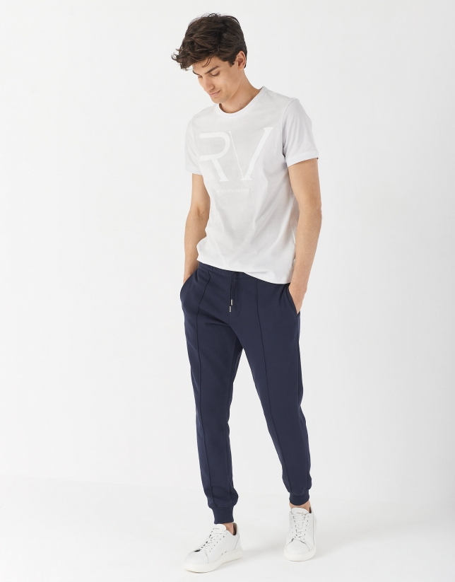 Navy blue plush cotton jogging pants